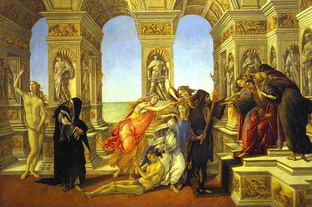 famous painting Calumny of Apelles of Sandro Botticelli