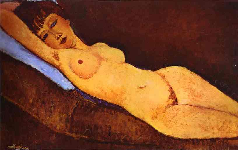 famous painting Reclining Nude with Blue Cushion of Amedeo Modigliani