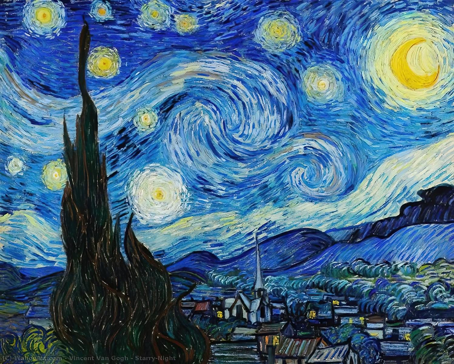 famous painting Starry-Night of Vincent Van Gogh