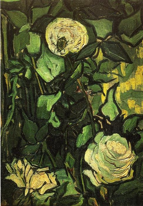 famous painting Roses and Beetle of Vincent Van Gogh