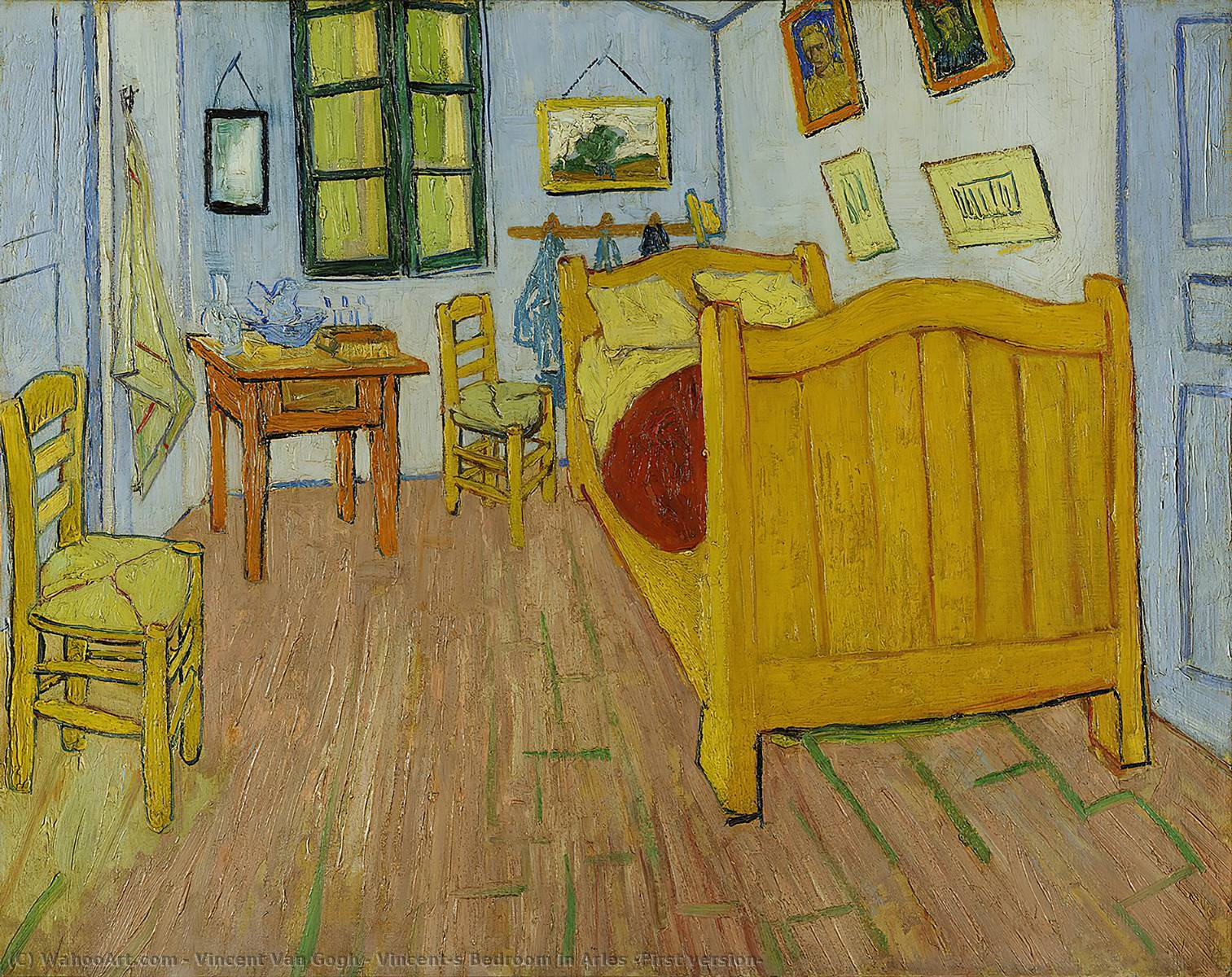 famous painting Vincent's Bedroom in Arles (First version) of Vincent Van Gogh