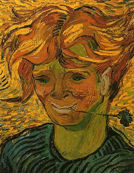 famous painting Young Man with Cornflower of Vincent Van Gogh