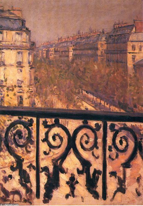 famous painting A Balcony in Paris of Gustave Caillebotte