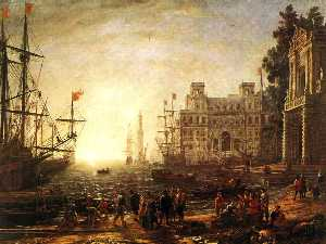 Claude Lorrain (Claude Gellée) - Port Scene with the Villa Medici