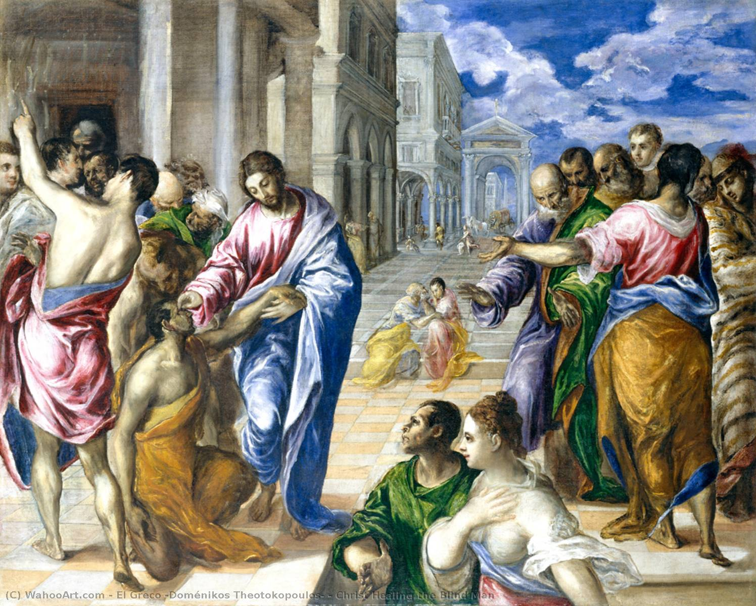famous painting Christ Healing the Blind Man of El Greco (Doménikos Theotokopoulos)