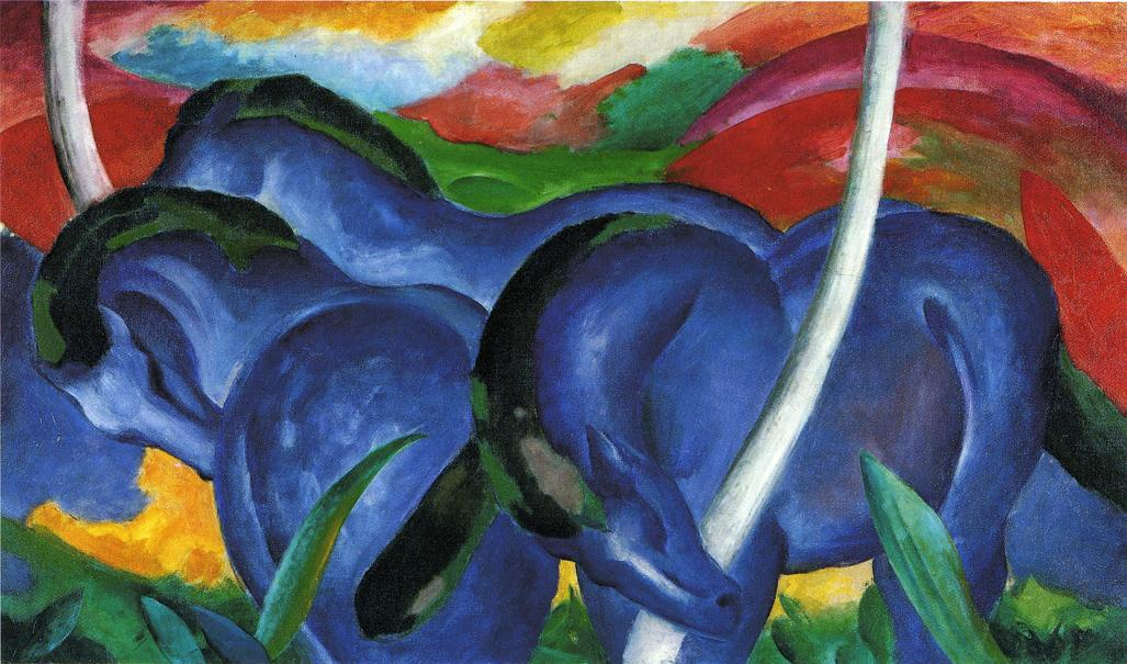 famous painting The Large Blue Horses of Franz Marc