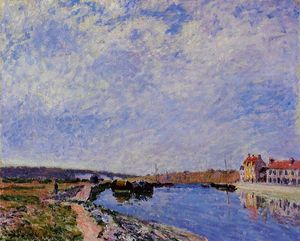 Alfred Sisley - The Barge Port and Saint Mammes