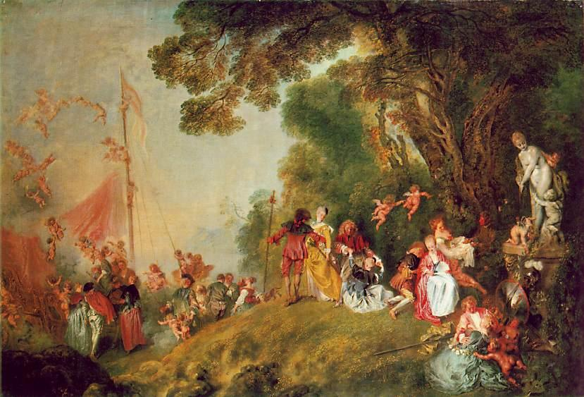 famous painting Pilgrimage to Cythera of Jean Antoine Watteau