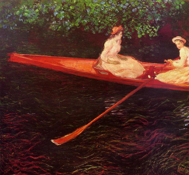 famous painting Boating on the River Epte of Claude Monet