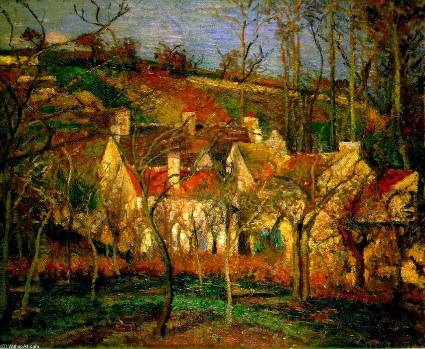 famous painting Red Roofs, Corner of a Village, Winter of Camille Pissarro