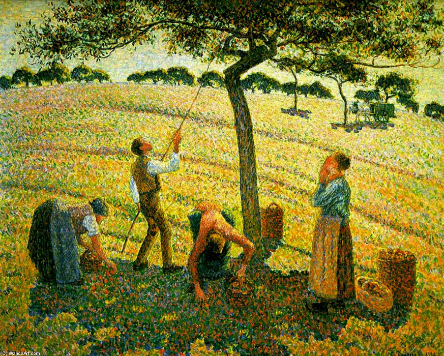 famous painting Apple Picking at Eragny-sur-Epte of Camille Pissarro