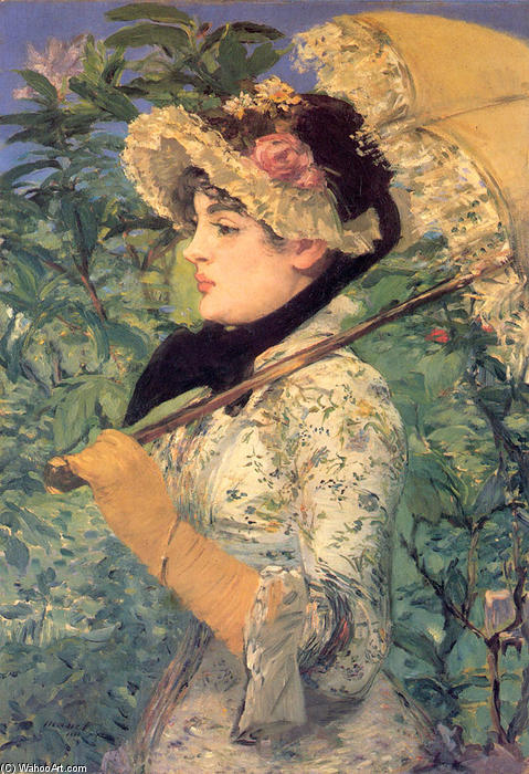 Order Museum Quality Copies | Spring (Study of Jeanne Demarsy) by Edouard Manet | Most-Famous-Paintings.com