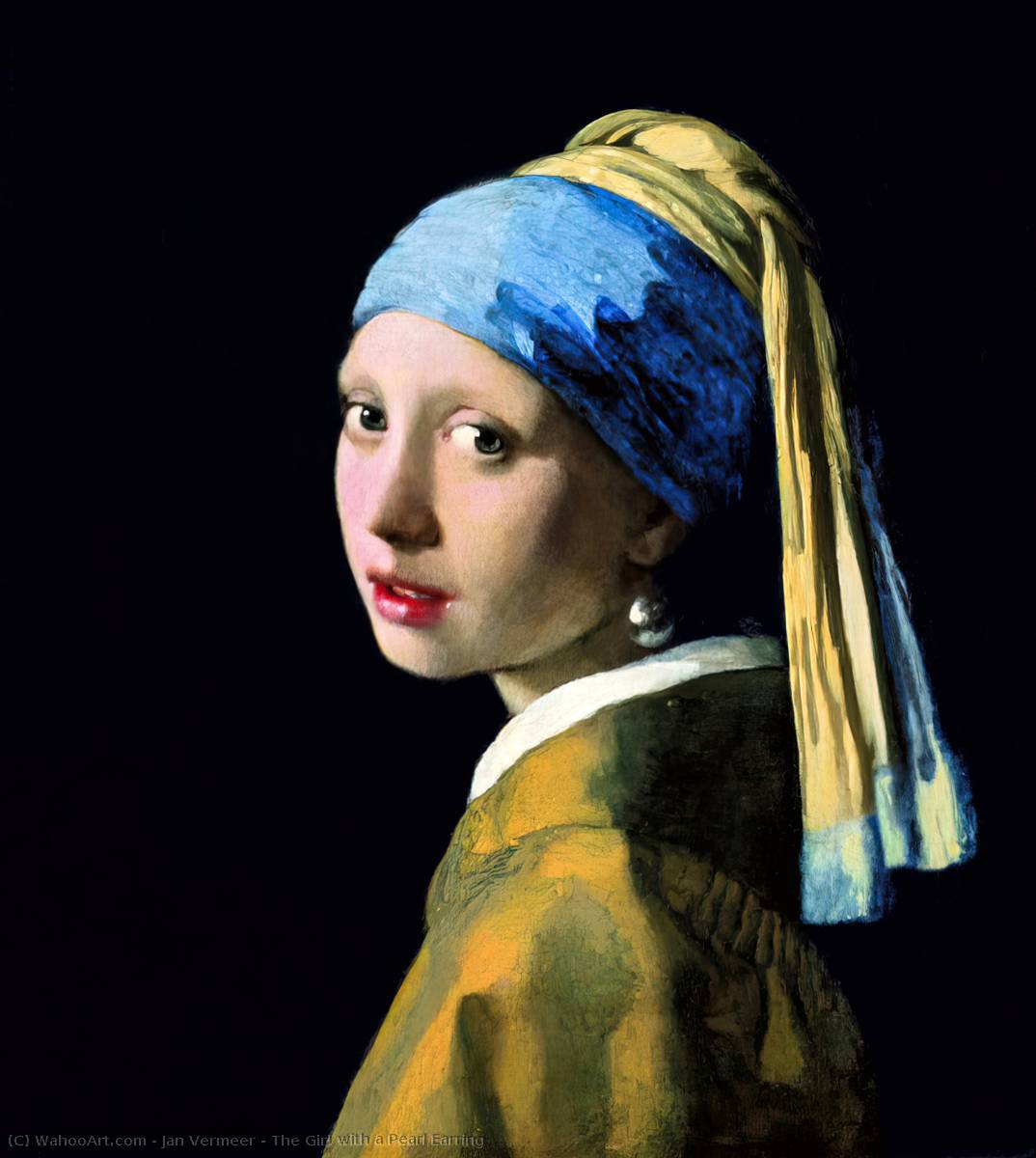 famous painting The Girl with a Pearl Earring of Jan Vermeer