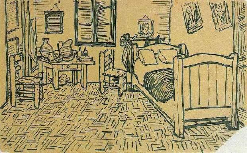 famous painting Vincent's Bedroom in Arles of Vincent Van Gogh