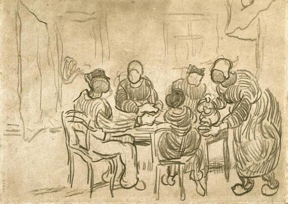 Bosquejo de la pintura Los comedores de patatas de Vincent ...