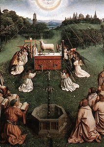 Jan Van Eyck - The Ghent Altarpiece Adoration of the Lamb (detail centre)
