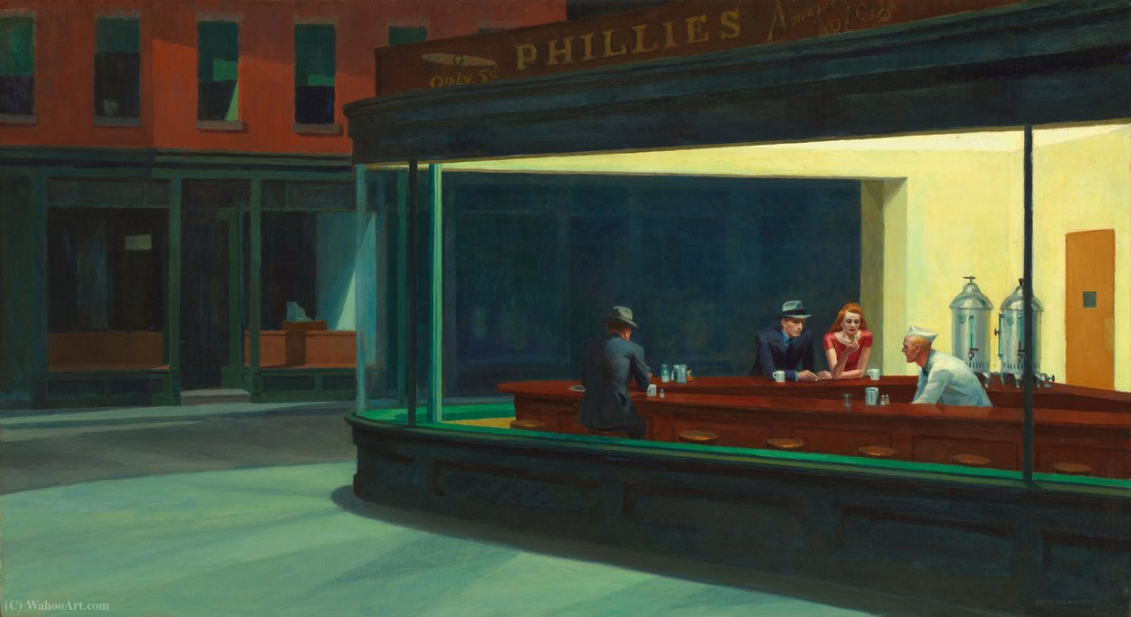famous painting Nighthawks, The Art Institute of Chicago, Chica of Edward Hopper