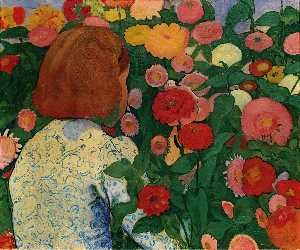 Cuno Amiet - Girl with Flowers