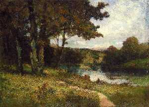 Edward Mitchell Bannister - Untitled (landscape, trees near river)
