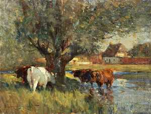 Edmund Aubrey Hunt - Cattle in the Shade of a Large Willow Tree (study)